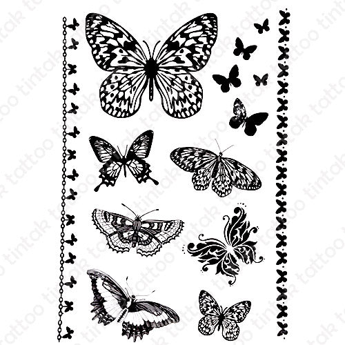 Set of small black butterfly temporary tattoo designs in different variations.