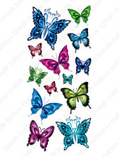 Load image into Gallery viewer, Set of small butterfly temporary tattoo designs in different colors.