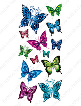 Set of small butterfly temporary tattoo designs in different colors.