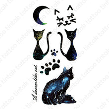 Load image into Gallery viewer, Moon and cat temporary tattoo sticker design