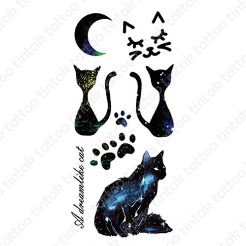 Moon and cat temporary tattoo sticker design