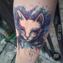 Load image into Gallery viewer, An arm with water-colored cat temporary tattoo.