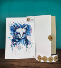 Load image into Gallery viewer, Tintak temporary tattoo sticker with water-colored cat design, with its hard board packaging.