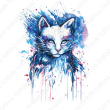 Load image into Gallery viewer, Water-colored cat temporary tattoo in blue color design.