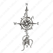 Load image into Gallery viewer, Black and gray compass temporary tattoo design.