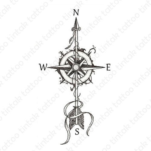 Black and gray compass temporary tattoo design.