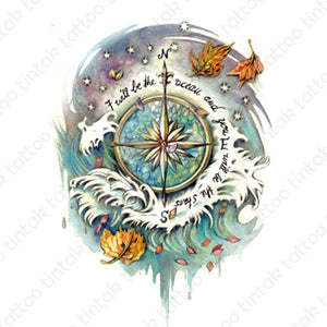 Compass tintak temporary tattoo design with ocean waves and stars.