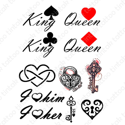 Set of couples' temporary tattoo designs.