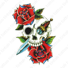Load image into Gallery viewer, Dagger and skull temporary tattoo design with roses.