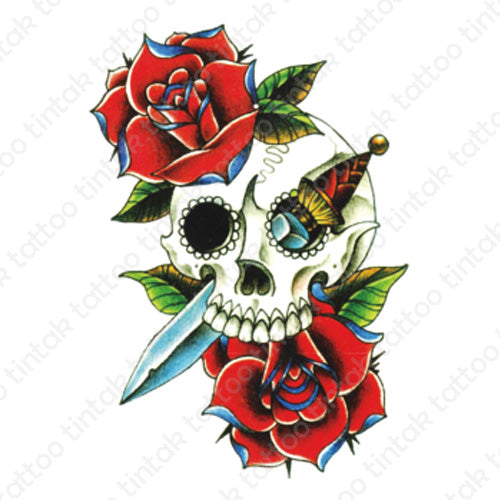 Dagger and skull temporary tattoo design with roses.