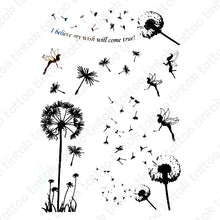 "Load image into Gallery viewer, Dandelion flowers temporary tattoo sticker design with little fairies and a quote ""I believe my wish will come true""."