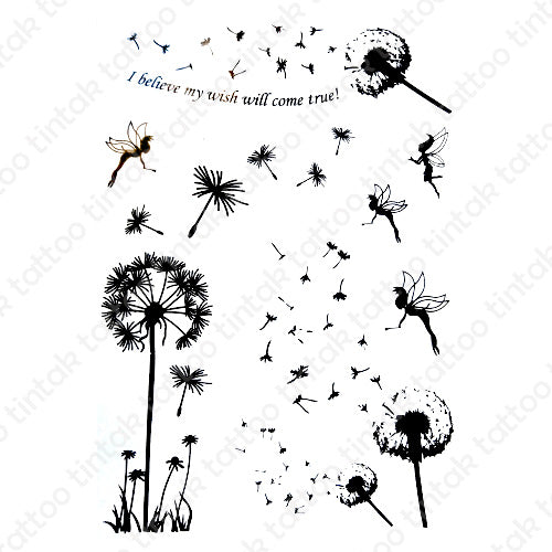 Dandelion flowers temporary tattoo sticker design with little fairies and a quote