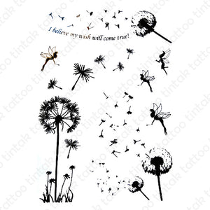 "Dandelion flowers temporary tattoo sticker design with little fairies and a quote ""I believe my wish will come true""."