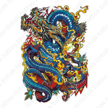 Load image into Gallery viewer, Blue dragon sticker temporary tattoo design.