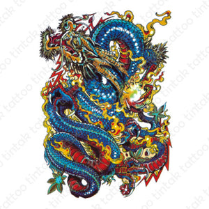 Blue dragon sticker temporary tattoo design.