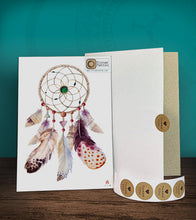 Load image into Gallery viewer, Tintak temporary tattoo sticker with dream catcher design, with its hard board packaging.