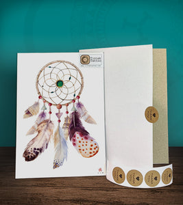 Tintak temporary tattoo sticker with dream catcher design, with its hard board packaging.