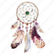 Load image into Gallery viewer, Dream catcher temporary tattoo with its brown elegant-looking design.