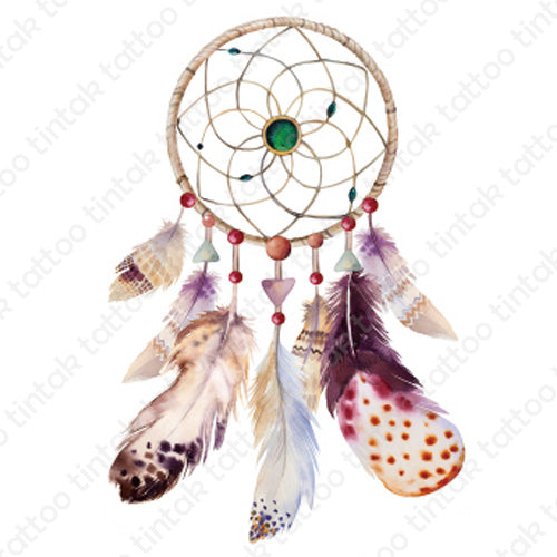 Dream catcher temporary tattoo with its brown elegant-looking design.