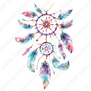 Watercolored dream catcher temporary tattoo design with 12 colorful feathers.