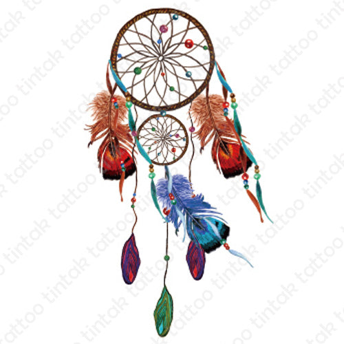 Dream catcher temporary tattoo design with two red feather tails on sides and one blue feather tail in the middle.