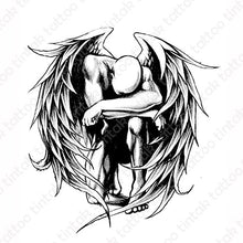 Load image into Gallery viewer, Black and gray temporary tattoo with a winged man on his knees.