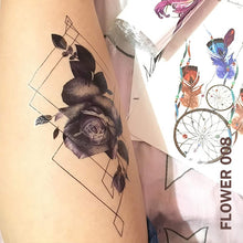 Load image into Gallery viewer, Temporary tattoo sticker on a woman's leg with black and gray rose flower design with geometric lines.