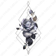 Load image into Gallery viewer, Black and gray rose flower temporary tattoo sticker design with geometric lines.