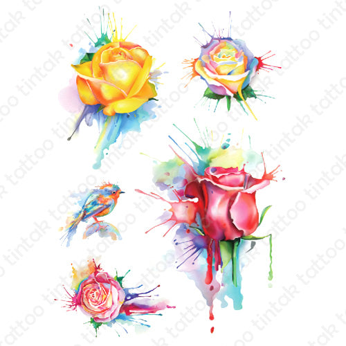 watercolored temporary tattoo sticker with four rose flower designs and a small bird.