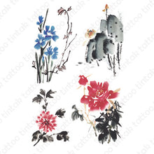 Load image into Gallery viewer, Four sets of water colored flowers temporary tattoo sticker design.