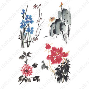 Four sets of water colored flowers temporary tattoo sticker design.