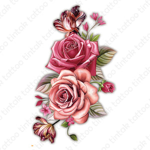 Pink rose flower temporary tattoo sticker design.
