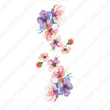 Load image into Gallery viewer, two watercolored flower temporary tattoo sticker designs symmetrical to each other.