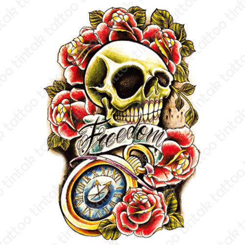 Skull temporary tattoo design with a roman clock, roses, and a banner saying
