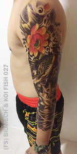 Full sleeve temporary tattoo on a man's arm with biomech and koi fish design.