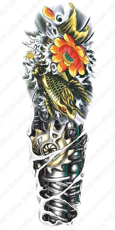 Full sleeve biomech and koi fish temporary tattoo sticker design.