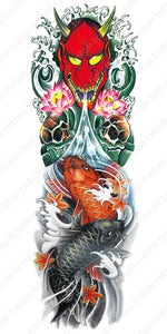 Full sleeve temporary tattoo design with red hannya mask and colored koi fish.