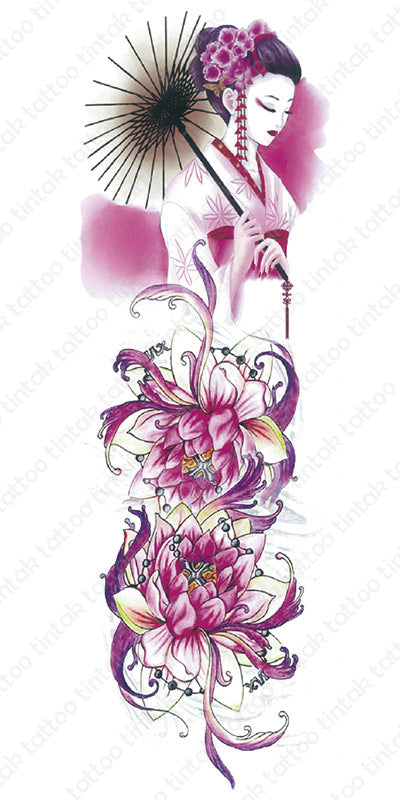 Pink full sleeve temporary tattoo design with Geisha and two lotus flowers.