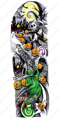 Halloween design of a full sleeve temporary tattoo with ghosts, pumpkins, and a haunted house.