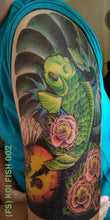 Load image into Gallery viewer, Full sleeve temporary tattoo design cut in half and placed on a man's upper arm.
