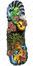 Load image into Gallery viewer, Full sleeve temporary tattoo design with koi fish and roses.