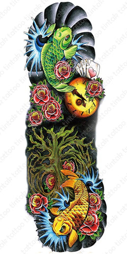 Full sleeve temporary tattoo design with koi fish and roses.