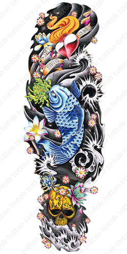 Blue koi fish in full sleeve temporary tattoo design with black and gray background.