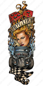 "Full sleeve temporary tattoo design in casino theme with cards, dice, a car, a woman, with a banner saying ""Lady Luck""."
