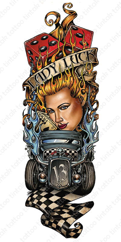 Full sleeve temporary tattoo design in casino theme with cards, dice, a car, a woman, with a banner saying
