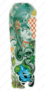 Green full sleeve temporary tattoo design with a lady and a skeleton.