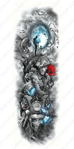 Black and gray full sleeve temporary tattoo design with some blue and red accent.