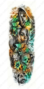 Full sleeve temporary tattoo design with a lady's face, a skull, flowers, butterflies, and a small clock.