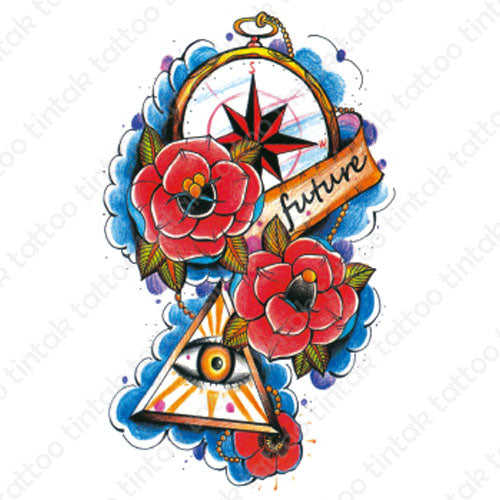 Tintak temporary tattoo design with compass, roses flowers, the eye, and a banner saying