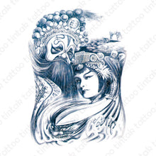 Load image into Gallery viewer, Geisha & King temporary tattoo design.